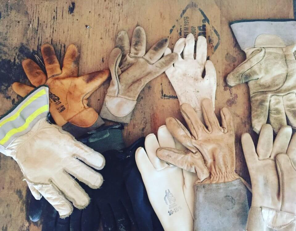 Construction gloves in a pile