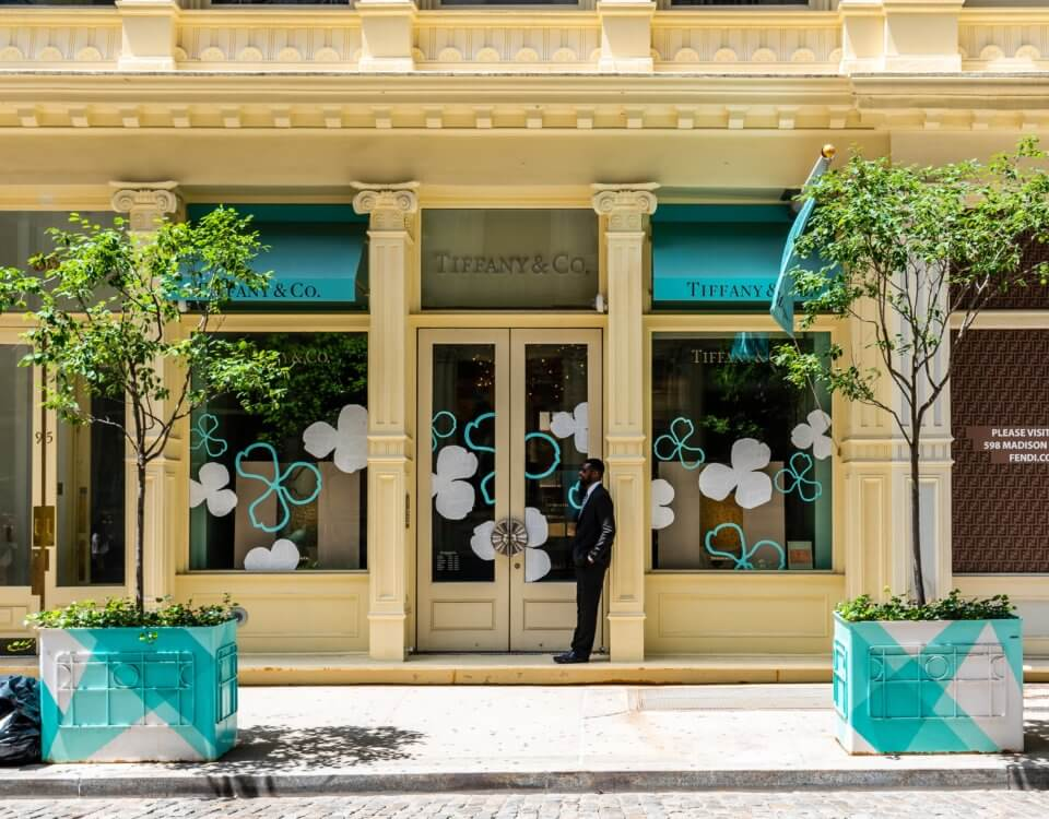 New York City, USA - June 25, 2018: Luxury jewelry storefront of Tiffany's fashion shop in Greene Street in Soho Cast Iron historic District